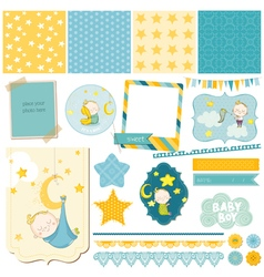 Baby boy sleeping theme - for party scrapbook vector