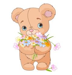 Teddy bear giving bouquet vector