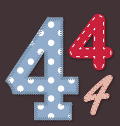 Set of stitched font - 4 Four vector image