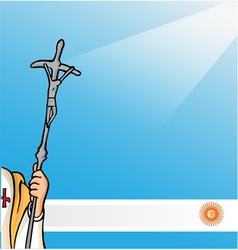 New pope with argentina flag vector