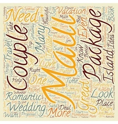 Maui for couples text background wordcloud concept vector