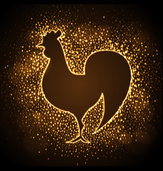 Neon sign of golden cock on disco background vector