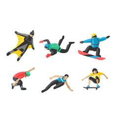 snowboard jumping extreme athletes vector image