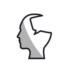 silhouette head bubble speech communication vector image