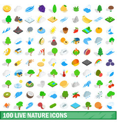 100 live nature icons set isometric 3d style vector image