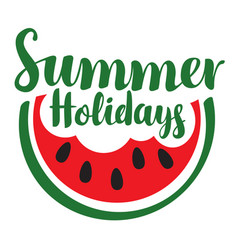 summer holidays with bitten slice of watermelon vector image