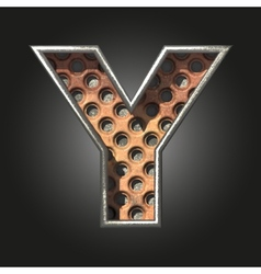 Old metal letter y vector