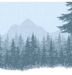 Winter mountain landscape with fir trees vector