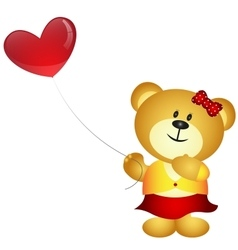 Cute cartoon girl bear holding love balloon vector