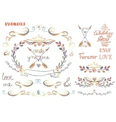 Cute wedding template kitfloral decor element vector