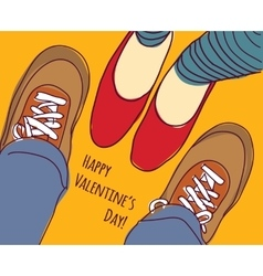 Valentines greeting card young man and woman vector