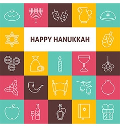 Line art happy hanukkah jewish holiday icons set vector