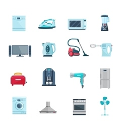 Flat color icons set of household appliances vector