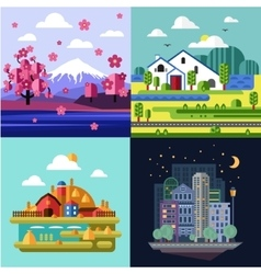City and village nature landscape set vector