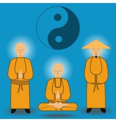 Chinese shaolin monks vector
