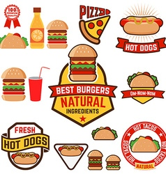 Set of hot dogs hamburgers tacos labels badges and vector