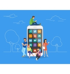 People with gadgets using smartphones outdoors vector