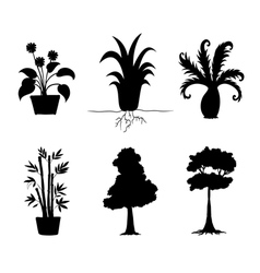 Tree plants silhouettes collection vector