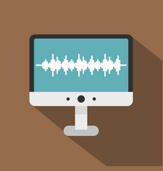 Audio technology monitor icon flat style vector