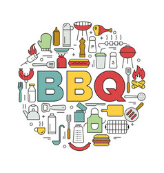 barbecue icons in circle icon line style vector image