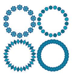 Blue moroccan circle frames vector