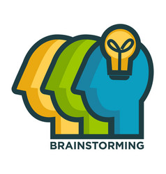 brainstorming creative icon of head and idea lamp vector image