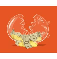 Broken glass piggy bank vector