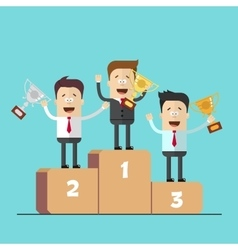 Businessmen or managers on the podium with the vector image vector image