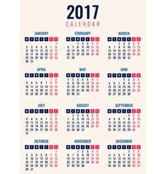 Calendar for 2017 week starts monday simple vector