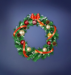 card with Christmas wreath vector image
