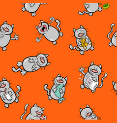 Cartoon pattern with cats vector