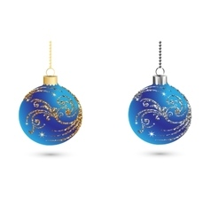 Christmas balls decoration with silver and gold vector