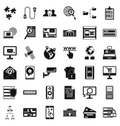 Data security icons set simple style vector