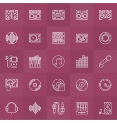 Dj outline icons set vector