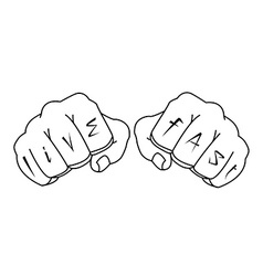 Fists with live fast fingers tattoo contour vector