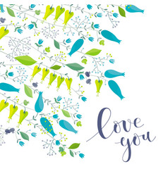 flowers and herbs greeting card love you vector image vector image