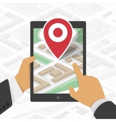 Hand holds tablet with gps navigator vector image vector image