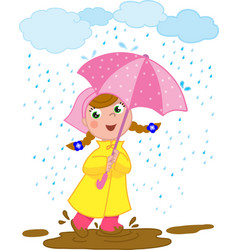 Happy girl playing in the rain vector