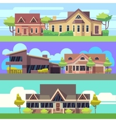horizontal banners set with residential vector image