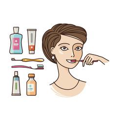 Hygiene of oral cavity beautiful girl brushing vector