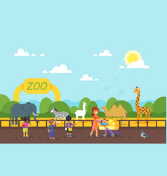 kids are visiting zoo vector image vector image