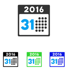 last 2016 month day flat icon vector image