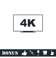 Lcd 4k icon flat vector