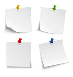 Note paper with push colored pin vector
