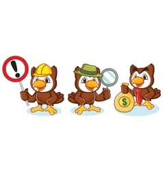 Owl mascot with money vector