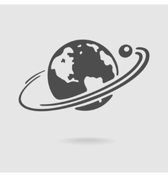 Planet and satellite symbol vector image