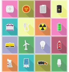 power and energy flat icons 18 vector image vector image