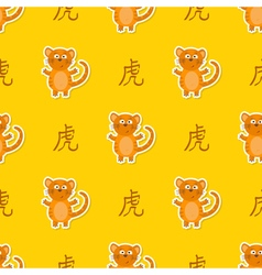 Seamless pattern with chinese zodiac tiger sign vector
