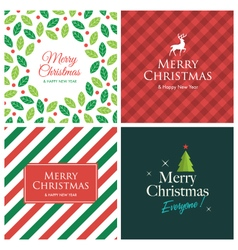 set christmas card square vector image vector image