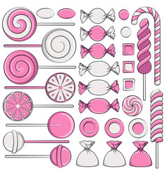 set of color with pink sweets vector image vector image